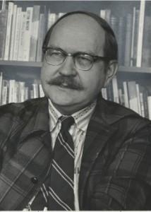 Jack Adamson in his office, Orson Spencer Hall, U of U., ca. 1973.